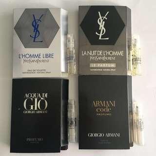 🚚 Ysl Lhomme Libre, La Nuit De Lhomme Le Parfum, Acqua Di Gio Profumo, Armani Code Profumo Perfume Samples for Men (total 4pcs)