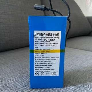 12V lithium rechargeable battery 20000mAH