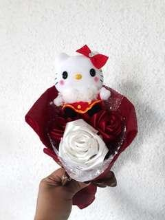 Hello Kitty 3 Stalks Red Roses Bouquet