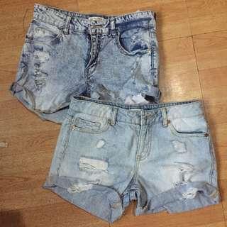 Forever 21 and Bershka Tattered Denim Shorts
