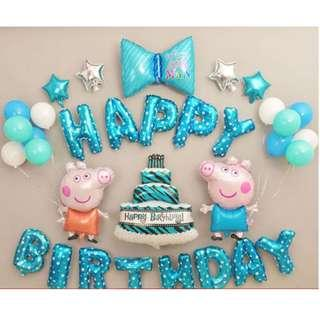 🚚 (In Stock)Blue Peppa Pig Theme Birthday Party Decoration Set