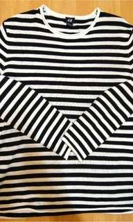 🚚 H&M 黑白條紋針織衫 男