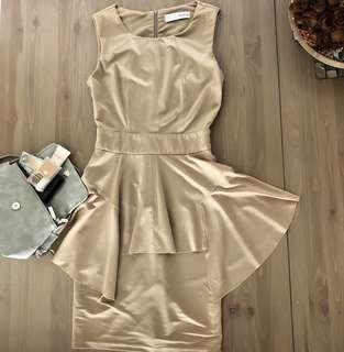 Nude Peplum Work Dress