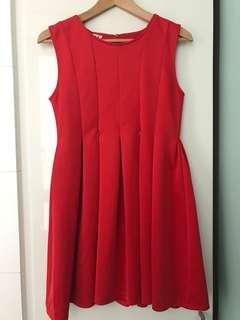 Red maternity and nursing dress