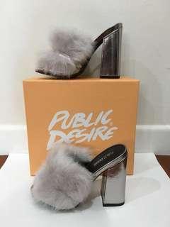 Metallic fur heels