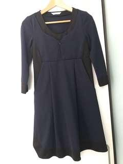 Black with dark blue maternity and nursing dress