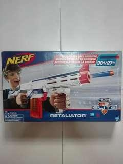 BNIB Nerf Elite Retaliator White 90 Feet with removable stock barrel grip 12-dart clip and 12 darts Hasbro TRU