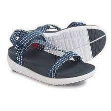 Fitflop Z-strap white weave/sporty blue sandals 涼鞋