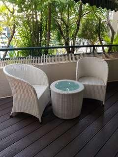 🚚 Outdoor PE Rattan 3 pcs Table & Chair