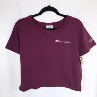 CHAMPION Cropped Tee - Burgundy