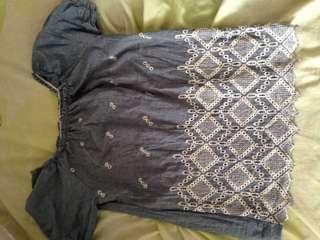 Korean denim lace blouse