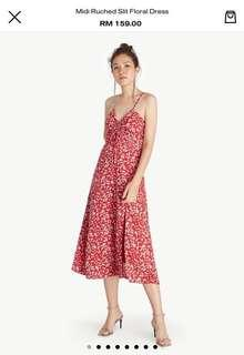 Pomelo Midi Dress With Slit and Ruched Detail