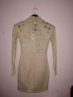 Cheongsam Long Sleeve Nude Dress