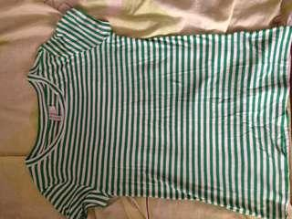 H&M Divided green white striped top