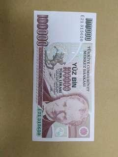 UNC 100000 turk lira