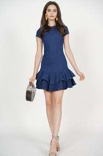 🚚 NEW: MDS Ruffled-Hem Mini Dress in Blue Denim Size S