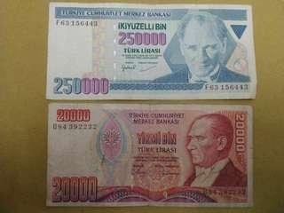 2 Turkish lira circulated
