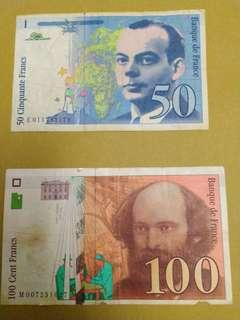 2 french francs for sale. 100 franc have tear see the picture