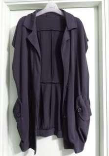 不規則 型格 深灰色 遮手臂 顯瘦 修身 短袖外套 襯褲 襯裙 都靚 西裝褸款 寬鬆身