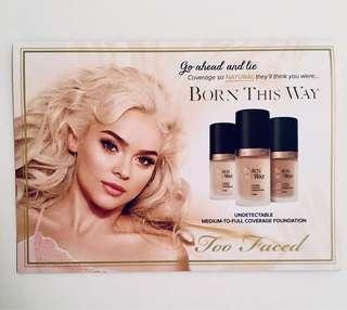 Too Faced 'born this way' foundation samples