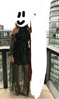 Black and gold glitter dot formal dress