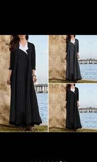 🚚 S-5XL Women V Neck Long Sleeve Striped Long Maxi Dress