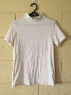 Original Bossini White Mock Neck Shirt