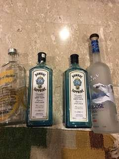 Empty liquor bottles