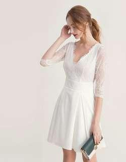 Deep V-Neck Lace Flare Dress (Size S, Ready-Stock)