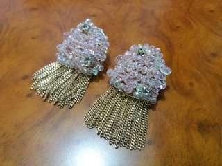 Statement Earrings (Pink and Gold color)