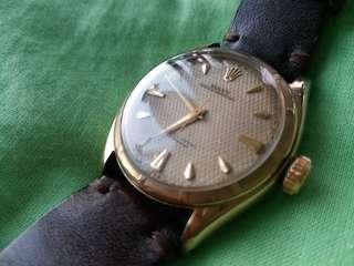 Vintage and Rare Rolex 6085 Waffle dial Solid Gold Bubble back