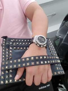 Valentino rockStud triple zip clutch