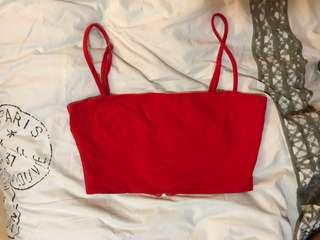 Red crop top singlet