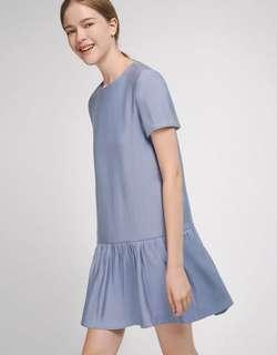Steel Blue Sleeved Shift Dress with Gathered Hem