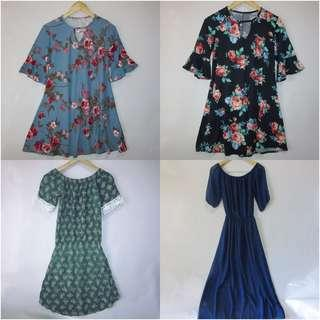 (XL) Set of 4pcs no brand plus size dress, all in great conditions,