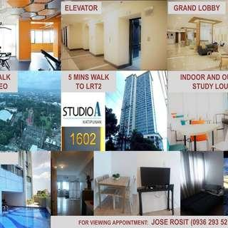 Urgent Condo for Rent Only 14,000 in front of Ateneo de Manila (5 mins walk to LRT2 katipunan station)