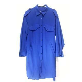 寶藍風衣式厚雪紡長版襯衫