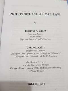 Political law book by Isagani Cruz 2014 edition