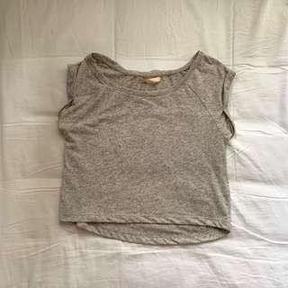 BERSHKA Grey Marle Cropped Top