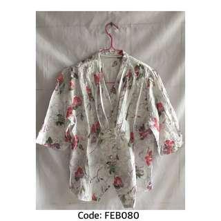 Blouse Putih Floral Model Chiness Shirt Lengan 3/4