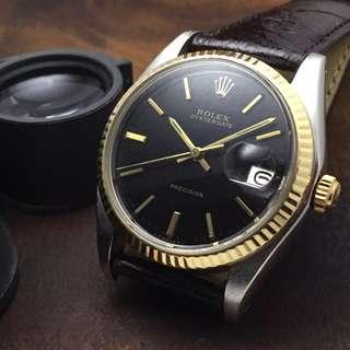 SOLD-     34mm Rolex 6694 Oysterdate in Factory Gloss Black