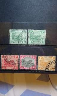 🚚 Malay States Tiger stamp pack of 5 pcs 1910s to 1930s