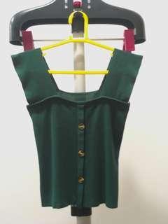 Sleeveless Green Knit TOP