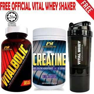 Vitalbolic Muscle Growth Activator by Pharmanutri, 90 Tablets, 45 Servings (Orange) + Pharmanutri 100% Creatine Halal 250g, 50 Servings (Unflavored) + FREE 3-in-1 Pharmanutri Vital Whey Protein Shaker/Blender/Mixer 17oz/500ml (Black)