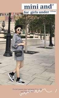 Pazzo 全新. 休閒率性感格紋套裝(外套/裙子) 灰格S