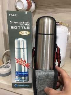🚚 不鏽鋼保溫瓶隨身+皮套