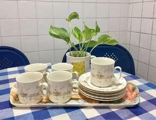 BN Branded IVORY ORIGINAL Ceramic of Victory Set of 5 Cups and Saucers Vintage