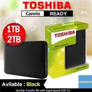 Toshiba 1TB / 2TB Portable External HDD (100% real)