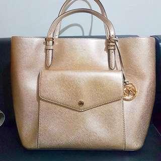 Authentic Michael Kors Jet Set Bag Gold