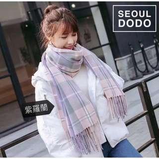 🚚 紫色 格紋圍巾